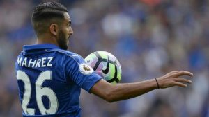 Leicester City Football Club's Riyad Mahrez in action.