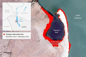 Ethiopia's dams and plantations have led to the dropping water level and retreating shoreline of Lake Turkana.