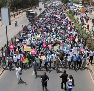 Medical doctors in a protest march for the right of Kenyans to the highest attainable standard of healthcare.