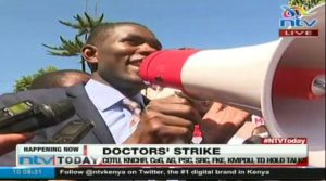 Dr Ouma Oluga, Secretary-General of Kenya Medical Practitioners, Pharmacists and Dentists Union, in action on February 3 after a court gave KPDU a week to call off the doctors' strike or be sent to jail.