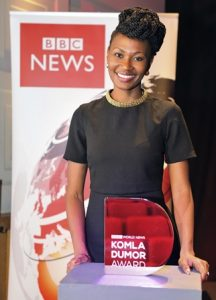 Uganda's Nancy Kacungira who worked for Kenya's KTN TV as a news presenter, won the inaugural BBC World News Komla Dumor Award.