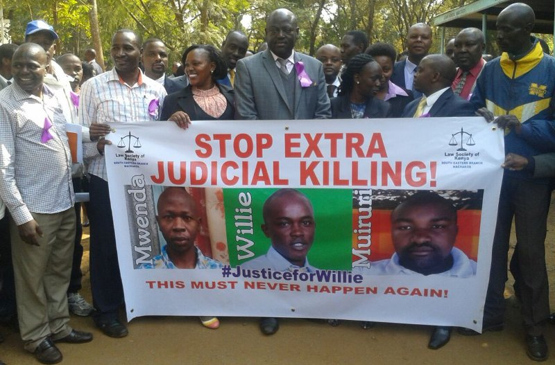 Law Society of Kenyan demand justice for lawyer Willie Kimani and two other s abducted outside a law court and killed by Administration Police