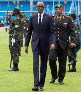Paul Kagame inspects the guard of honour before his swearing-in ceremony at Amahoro stadium in Kigali, Rwanda, August 18, 2017. Pic by Reuters.