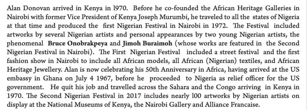Alan Donovan, co-founder of African Heritage, is behind the Nigerian Contemporary Arts shows in Nairobi.