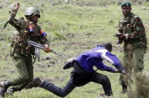 Kenya Police corner a supporter of opposition National Super Alliance. Hindustan Times image
