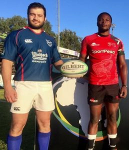Captains of Namibia and Kenya pose ahead of the final of the Rugby Africa Gold Cup on July 29, 2017.