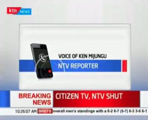 The Communications Authority of Kenya switched off three television and radio stations for defying President Uhuru Kenyatta's order to editors at a meeting on January 26, 2018 not to cover the planned swearing in of the opposition leader, Raila Odinga