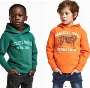 Sweden's luxury apparels manufacturer, H&M, stirred controversy in mid January 2018 with its advert of a black boy in a sweat shirt with the words Coolest Monkey in the Jungle and a white boy in another hoodie with the words Mangrove Jungle Survival Expert.