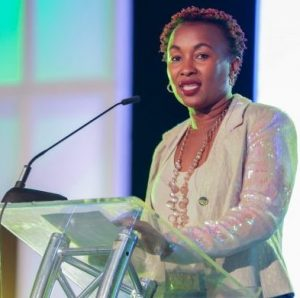 Sylvia Wairimu Mulinge, Director of consumer service at Safaricom, during the launch of Songa music streaming app