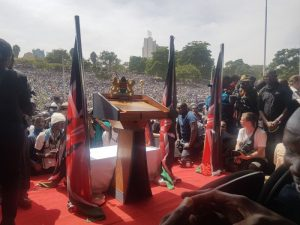 The dais shortly before Raila Odinga took oath as People's President of Kenya on January 30, 2018.