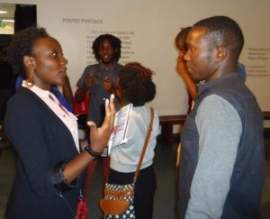 Movie practitioners network during Lola Kenya Screen film forum, Nairobi's premier critical screen arts platform that has met monthly at Goethe-Institut since 2005.