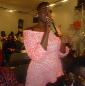 Veronicah Wanjiku, an actress, speaks during the 101st Lola Kenya Scairobi, Kenya.