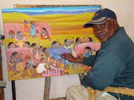 Ancent Soi, Veteran Kenyan painter, speaks on painting at Visual Arts Mentorship at Nairobi Gallery