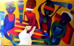 Party Merger, an oils on canvas painting by Moses Nyawanda who is exhibiting at Nairobi National Museum November 9-30, 2017