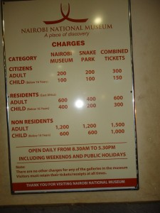 Nairobi National Museum Entry Fee