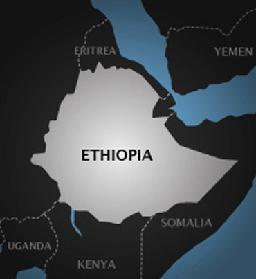 horn of africa map showing ethiopia