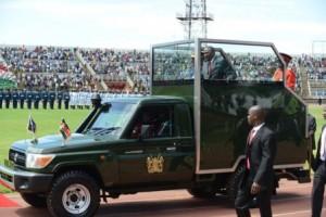 President Uhuru Kenyatta's armored vehicle during the 2014 Madaraka Day celebrations at Nyayo Stadium