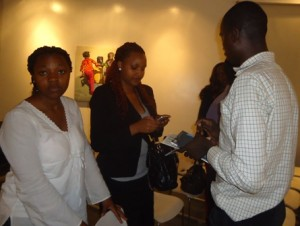 exchanging contacts at 81st lola kenya screen film forum
