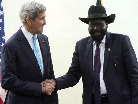 salva kiir, south sudan president, with john kerry, usa secretary of state