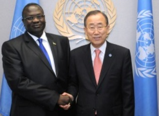 riek machar, as south sudan's vice-president, with ban ki-moon, un secretary general