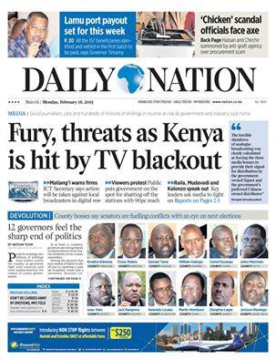 headline of nairobi's daily nation on tv blackout