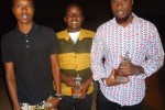 kenyans brevick ngereri, kevin wambui, erick okoth pose with trophies won by bruce makau's MY FAITH