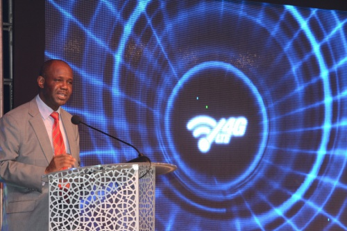 Prof Makame Mbarawa (Guest of Honour), Tanzania's Minister for Communications, Science and Technology addressing stakeholders during the launch of 4GLTE technology by Tigo Tanzania