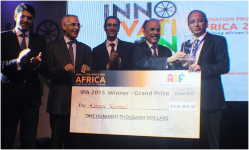Adnane Remmal (right) IPA 2015 winner, with the Ministry of Industry, Trade, Investment and Digital Economy officials and AIF Founder, Jean-Claude Bastos de Morais (centre)