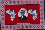 Cotton cloth (kanga) that celebrates Barack Obama's election as US President, printed cotton, Kenya 2008 © Trustees of the British Museum.