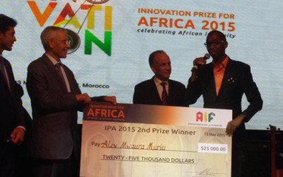 Kenya's Alex Muriu receives US$25000 for emerging second in Innovation Prize in Africa (IPA) 2015 competition