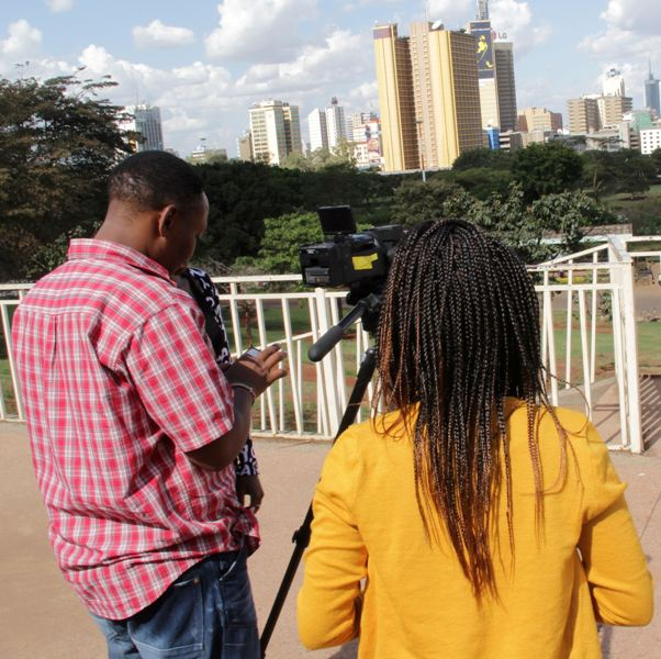Skin Deep film director Michelle Kamunyo and her cameraman on location in Nairobi