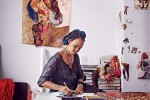 Wangechi Mutu, US-based Kenyan rtist at work