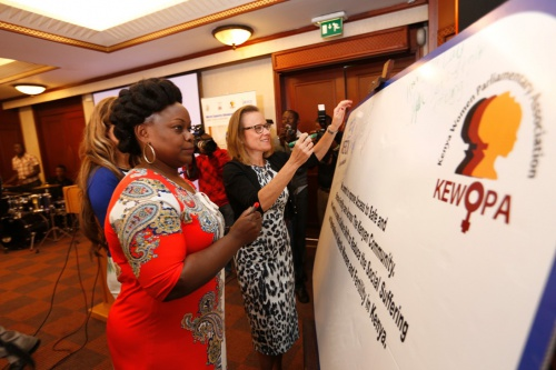 Belén Garijo,CEO, Merck Healthcare,launches More Than a Mother campaign in Nairobi as MP Millie Odhiambo-Mabona looks on