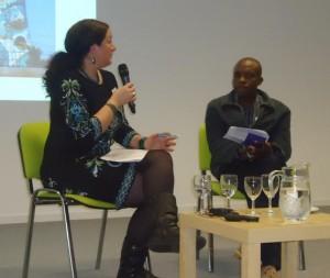Lizelle Bisschoff, African film scholar and founder, , Africa in Motion Scotland African Film Festival in public discussion in Edinburgh with Ogova Ondego of Lola Kenya Screen, Nairobi, Kenya