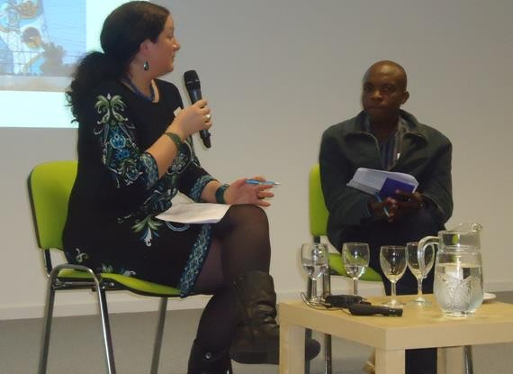 Lizelle Bisschoff, Founder, Advisor and Programme Consultant of Africa in Motion Scotland African Film Festival in public discussion in Edinburgh with Ogova Ondego of Lola Kenya Screen, Nairobi, Kenya.