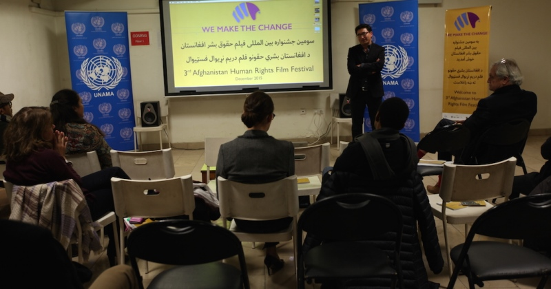 Special Human Rights Day screening at the UNAMA Screening Hall in Kabul