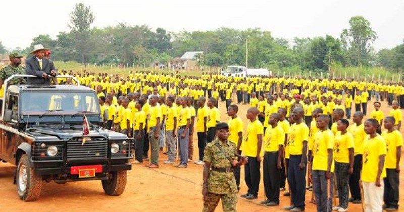 President Yoweri Museveni inspects guard of honour mounted by crime preventers in Mubende district