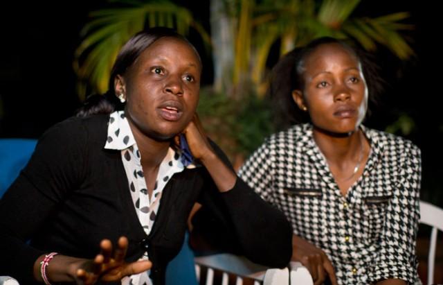Joy Sakari (l) and Francisca Koki Manunga speak to the Associated Press