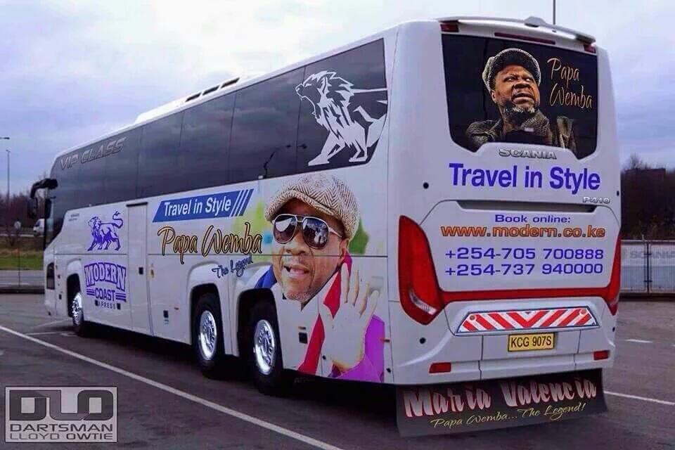 Papa Wemba tribute on a passenger bus in Kenya