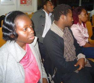 E F Ayuma at a Lola Kenya Screen film forum at Goethe-Institut