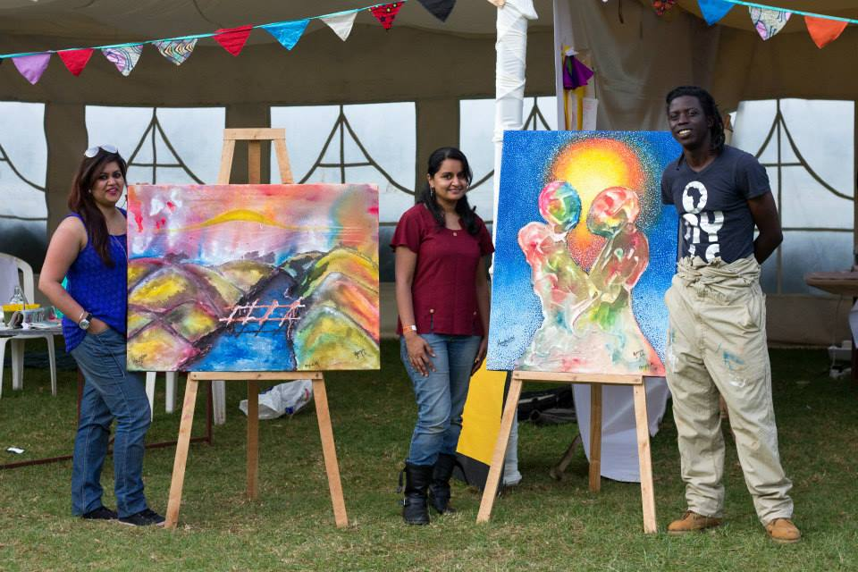 Artists Natasha Joshi, Gemini Vaghela and Onyis Martin at work in Nairobi.