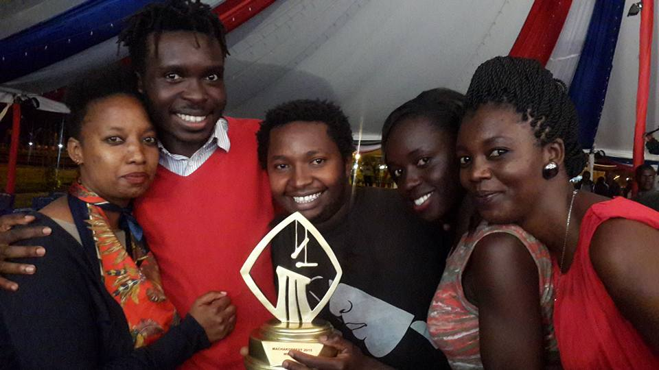Eunice Ayuma with crew and cast members of Hamba Production at Machakos Film Festival in eastern Kenya's Machakos County.