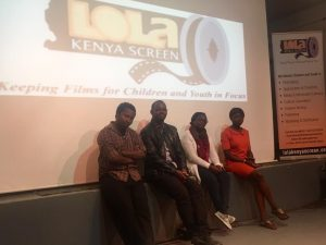 Movie panelists Firul Maithya (camera/directing), Ian Kithinji (writing/camera/directing), Christine Muthee (producing) and Eunice Ayuma (acting) get ready for questions
