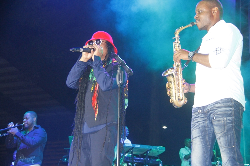 Lin Rountree on trumpet, Maxi Priest on the microphone and Jackiem Joyner on the sax performing at the 9th Nile Gold Jazz and Soul Safari in Kampala. Photo by Abubaker Lubowa