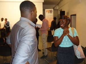 Movie practitioners interact during the 96th monthly Lola Kenya Screen film forum in Nairobi's Goethe-Intitut