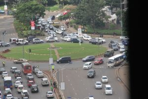 Motorists at the junction of University Way, Waiyaki Way, Nyerere Road, Uhuru Highwas in the Kenyan capital, Nairobi.