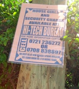 Domestic servants--House Girls & Security Guards--available notice atop a Kenya Power's post.