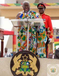 John Mahama handed the Presidency of Ghana to Nana Addo Dankwa Akufo-Addo to whom he lost the election.