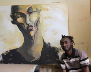 Boniface Maina, a 1987-born Kenyan artist with a diploma in art and design, works primarily with acrylics on canvas and inks on paper