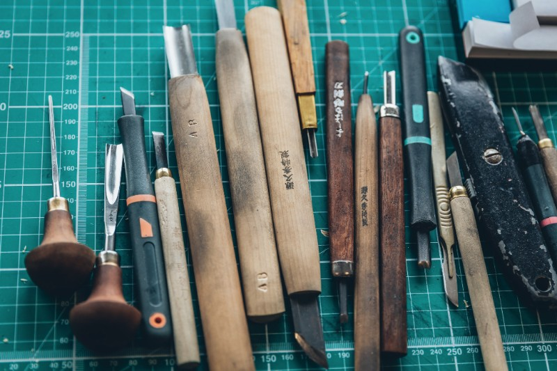 A selection of art tools Alex Booker has collected from travels around the world.
